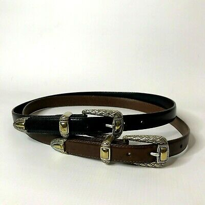 Brighton Belt Lot of 2 Size M 30 Womens Black Brown Leather Silver Gold Tone