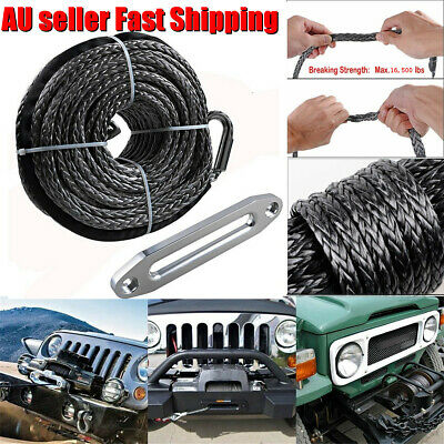 95'' Length 16500LBS Edition Synthetic Winch Line Rope & Hawse Fairlead Black