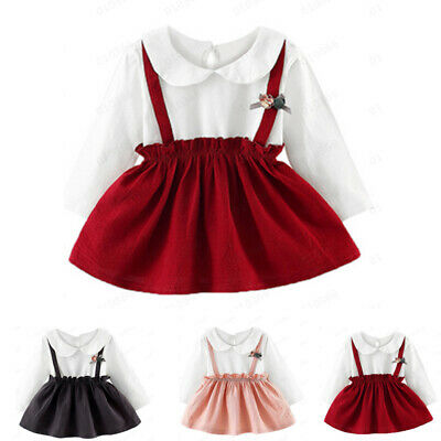 Infant Toddler Kids Baby Girls Flower Clothes Long Sleeve Party Princess Dresses