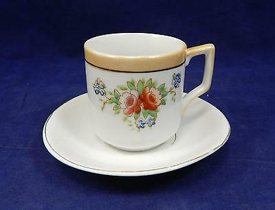 VTG Post-WWII Made in Occupied Japan Lusterware Trimmed Demitasse Cup & Saucer