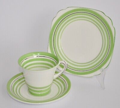 Art Deco Roslyn China Trio - Green and Platinum Bands - #8095