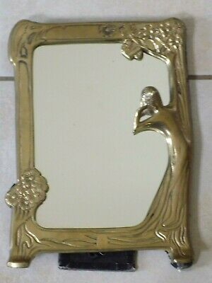 VTG Art Deco NOUVEAU Brass old Frame Mirror Stand with NYMPH LADY  LOOKING IN