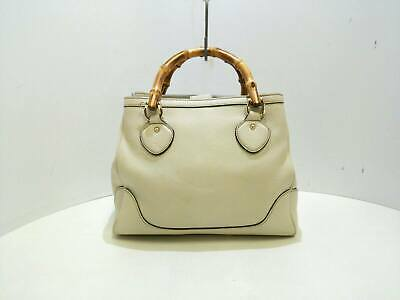 2d2a4c10f45 AUTH GUCCI BAMBOO 308360 Ivory Brown Multi Leather Tote Bag ...