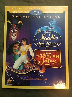 Aladdin King of Thieves Return Jafar 2/3 Bluray DVD) No Digital Copy w/Slipcover