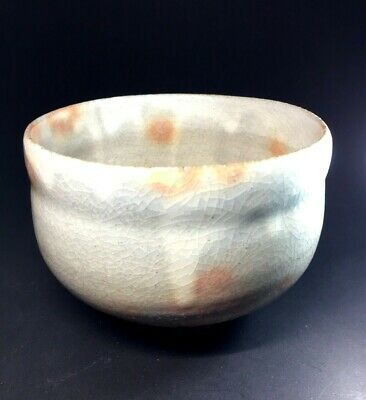 Japanese Tea Ceremony Bowl Hagi ware Ceramic Chawan Vtg Pottery Pink  .