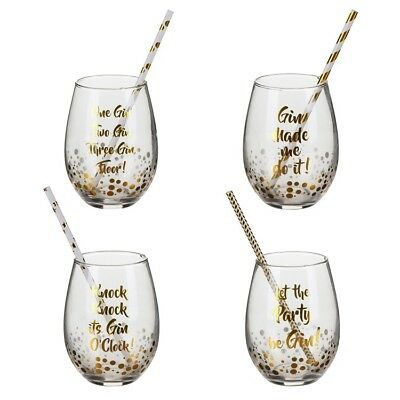 7e7efce3a65 Set of Four Stemless Gin & Tonic Glasses G&T Lovers Novelty Cocktail Glass  Boxed