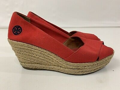 5338fceb1 TORY BURCH Filipa Red Shimmer Espadrille Wedge Peep Toe Shoes Women's Size  ...