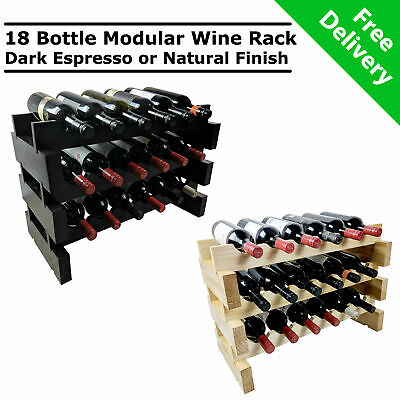 Modular Stackable Wooden 18 Bottle Wine Rack Timber Cellar Storage Stand Wood