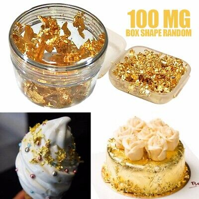 AU 100mg 24K Gold Leaf Flakes Food Grade/Edible For Cake Decorating DIY Home