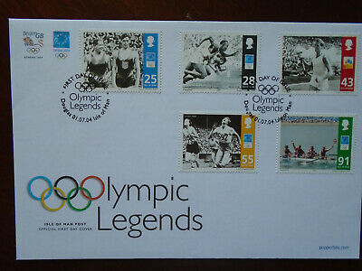 Isle of Man First Day Cover 2004 Olympic Legends