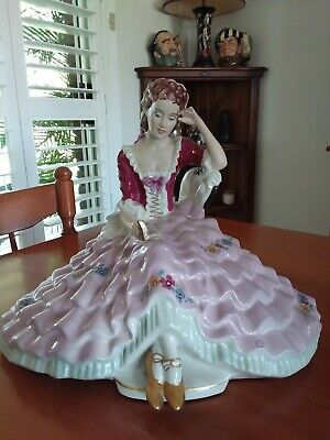 Royal Dux Huge Lady Figurine Reading A Book In Excellent Condition
