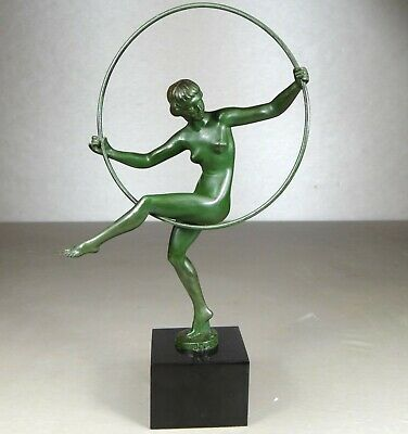 1920/1930 Briand M Bouraine M. Le Verrier Statue Sculpture Art Deco Danseuse Nue