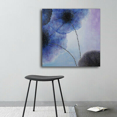 Handmade Modern Abstract Oil Painting Art Wall Deco Lotus Canvas 75x75cm Framed