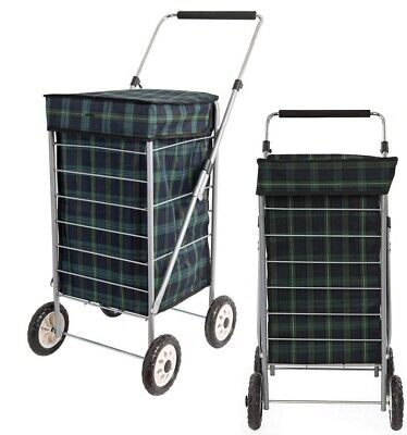 4 Wheel Shopping Trolley Caged Bag Folding Case Light Weight Push Cart 60Ltr