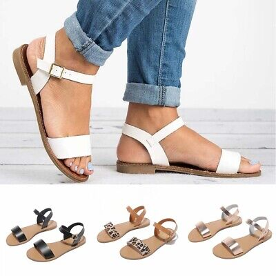 UK Ladies Flat Sandals Womens Open Toe Buckle Ankle Strap Shoes Summer Holiday