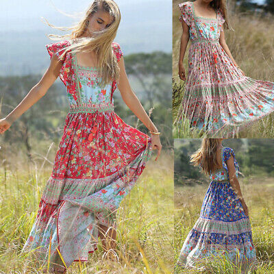 Womens Vintage Boho Floral Long Maxi Dress Evening Party Beach Summer Sundress