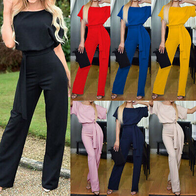 Womens Casual Wide Leg Jumpsuit Ladies Evening Party Long Playsuit UK Size 6-20