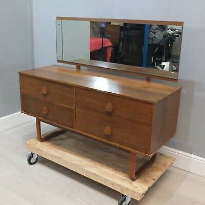 Vintage Retro Teak Danish Dressing Table With Mirror / Chest of Drawers   (170)