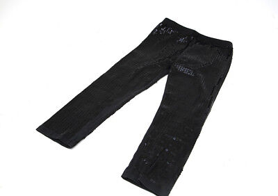 Girls Age 4-5 Years f & f Vintage  sequined Black Cotton with stretch Trousers