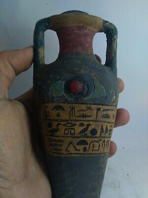 RARE ANTIQUE ANCIENT EGYPTIAN Sacrifice Vase Eye of Hours 1685-1585 Bc