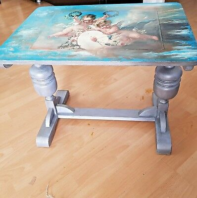 Antique Side Table Repainted And Decoupaged With Cherub Theme