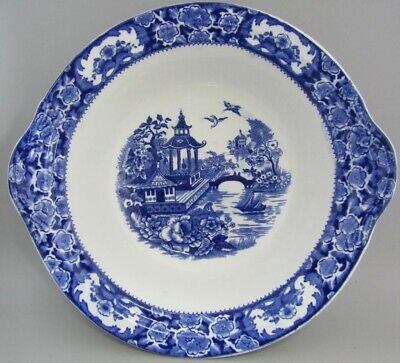 Antique Edwardian English willow pattern bowl dish blue and white transferware