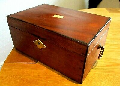 Victorian Solid Mahogany Sewing/jewellery Box,lovely Interior,brass Handles.