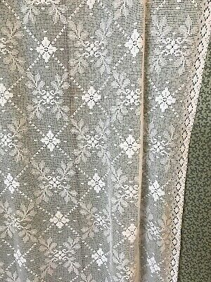 "Vintage Shabby Chic White Cotton Lace Projects Timeworn 50""/70"""