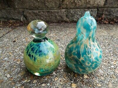 MDINA Art Glass Malta Two Paperweights Blue and Green Signed