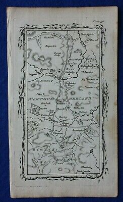 Rare antique road map NORTHUMBERLAND, WHITTINGHAM, HEDGELEY MOOR, Armstrong 1776