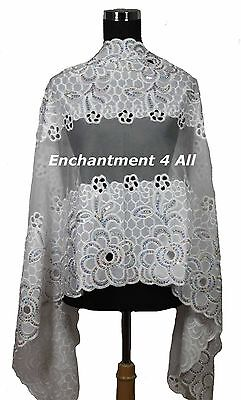 Large Elegant Embroidered Floral Lace Scarf Shawl Handmade w/ Sequins, Off White