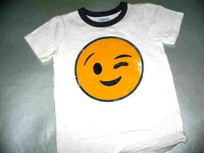 Crewcuts White S/s Polo Ith Stencil Of Yellow Winking Face Sz. 4/5