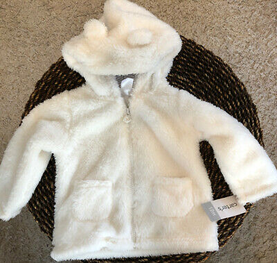 Carter's Baby Girl White Furry Teddy Bear Zip Up Hooded Coat Jacket 12 M Sherpa