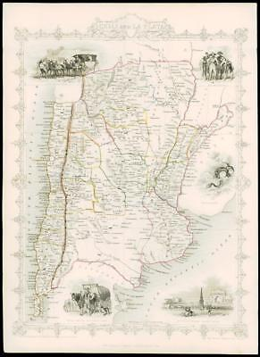 """1850 Illustrated Antique Map of """"CHILE & LA PLATA"""" & ARGENTINA  by Tallis (69d)"""