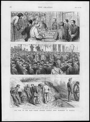 1877 Antique Print PRINCE CHARLES  ROMANIA Bucharest Calafat Army Officers (243)