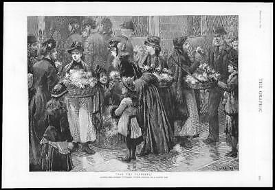 1890 Antique FINE ART Print For The Patients Flower Girls Charles Staniland (219