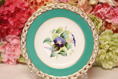 Minton, English Porcelain Hand Painted Dessert Set with Flowers - Plate #1