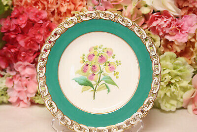 Minton, English Porcelain Hand Painted Dessert Set with Flowers - Plate #3