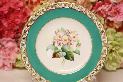 Minton, English Porcelain Hand Painted Dessert Set with Flowers - Plate #4