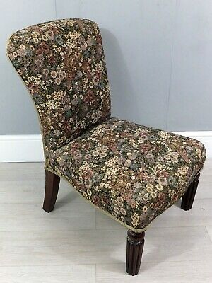 Victorian Antique Mahogany Floral Upholstered Nursing Chair (154)