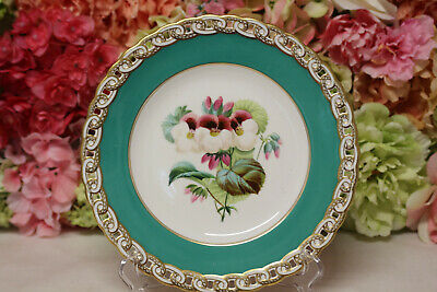 Minton, English Porcelain Hand Painted Dessert Set with Flowers - Plate #5