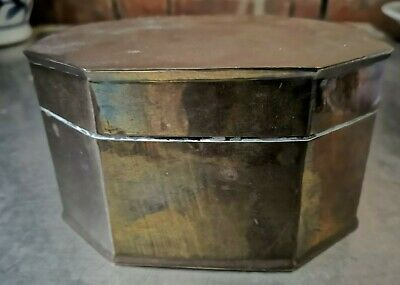 Vintage Brass Octagonal Box With Hinged Lid, 14 X 10 X 8Cms Nice Patina,