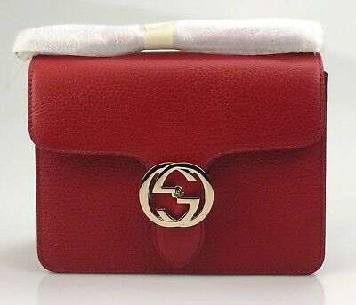 be5a7bc57 NEW/AUTHENTIC GUCCI 510304 Interlocking Leather Chain Crossbody Bag ...