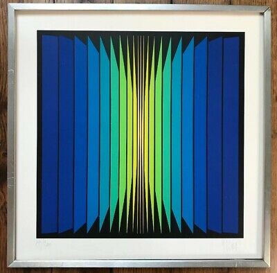 Vasarely Op Art Cinetique Lithographie Originale signée main Yvaral 1934-2002