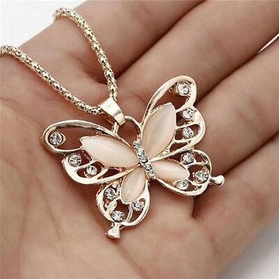 Rose Gold Opal Butterfly Pendant Necklace Sweater Chain Woman Fashion  GN