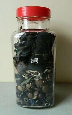 Collection of Vintage Buttons/Buckles/Bobbins/Zips etc. in a Glass Sweet Jar