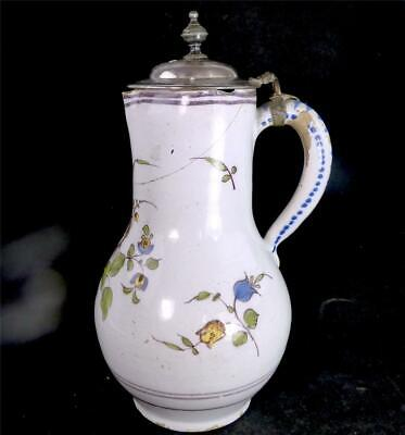 N926 Antique 18Th Century North European Tin Glaze Faience Pitcher Jug Manganese