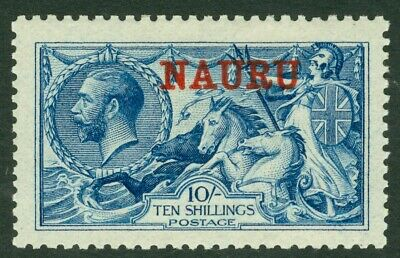 SG 23d Nauru 1916. 10/- deep bright blue. Lightly mounted mint CAT £500