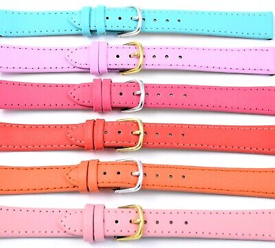 Ladies Pastel & Bright Colours Genuine Leather Watch Strap & Pins Size 20mm