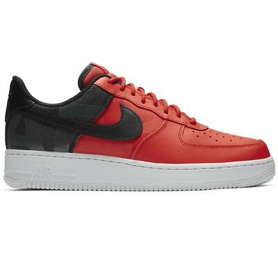 aee298a0a6d6b Nike Air Force 1  07 LV8 Mens AV8363-600 Habanero Red Black Low Shoes